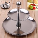 Unique Durable Stainless Steel Double Layer Round Fruit Tray Fruit Plate