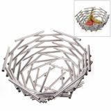 Hot Sell Large Hight Quality Bird's Nest Design Stainless Steel Fruit Basket Fruit Plate (silver)