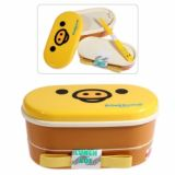 Cartoon Face Lunch Box With Chopsticks For Office/kitchen/school (yellow)