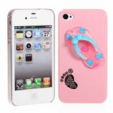Funny Slipper Design Protective Plastic Hard Back Case Cover For Iphone 4 4s (pink)