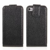 Lichee Texture Top Vertical Magnetic Flap Design Leather Case For Iphone 4/4s