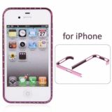 Luxurious Cross-line Diamond Aluminum Metal Protective Bumper Frame Case For Iphone 4/4s