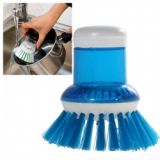 Functional Oily Pan/ Wok/ Pot Cleaning Brush With Auto Cleansing Container (blue)