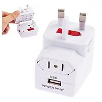 Multi-function Worldwide Travel Plug Adapter With USB Charger (White)