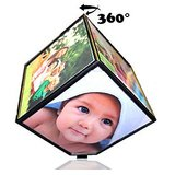 Rotating Battery Operated Magic Cube Revolving 3D Cube Photo Frame For Gift