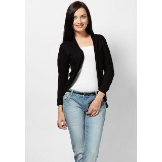 Aashish Fabrics Black With Stretch Plain Shrug For Women