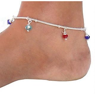 Sparkling Jewellery Pair Of Silver Plated Multicolor Anklets For Women
