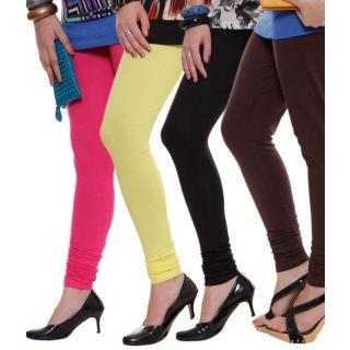 Mistyblue Black-Brown-Fuschia Pink-Lemon Yellow Pack of 4 Leggings