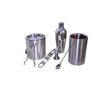 Stainless Steel 7 pcs Bar set (Medium) - Cocktail shaker Ice bucket Peg Measure Ice Tong Wine cooler bar spoon Bottle Opener