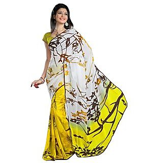 Firstloot Stylish Yellow Colored Contemporary Printed Faux Georgette Saree