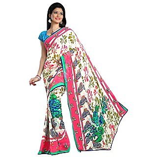 Firstloot Delightful Multi Colored Floral Printed Faux Georgette Saree