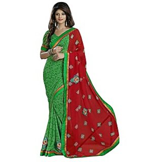 Firstloot Appreciable Green Colored Printed Chiffon Saree