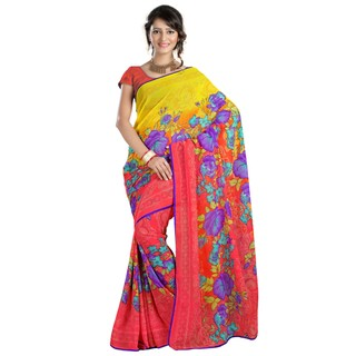 Firstloot Attractive Yellow Colored Floral Printed Faux Georgette Saree