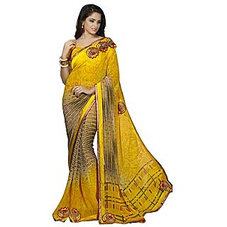 Firstloot Glorious Yellow Colored Printed Faux Georgette Saree