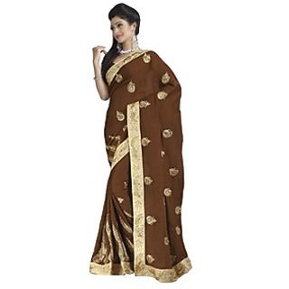 Firstloot Tempting Brown Colored Embroidered Satin Chiffon Saree