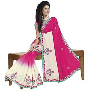 Firstloot Striking Dual Shaded Embroidered Faux Georgette Saree