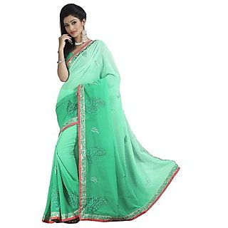 Firstloot Eyecatchy Green Colored Embroidered Faux Georgette Saree