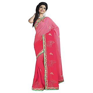 Firstloot Entrancing Red Colored Embroidered Faux Georgette Saree