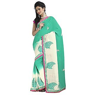 Firstloot Startling Green Colored Embroidered Faux Georgette Saree