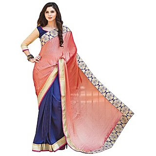 Firstloot Remarkable Blue Colored Border Worked Chiffon Silk Saree