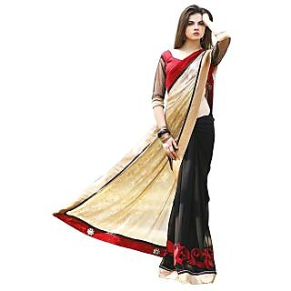 Firstloot Evoking Black Colored Border Worked Georgette Shimmer Saree