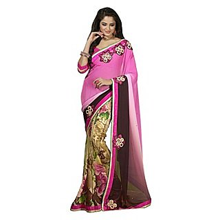 Firstloot Elite Multi Colored Printed Faux Georgette Saree