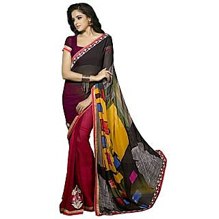 Firstloot Entrancing Red Colored Printed Faux Georgette Saree