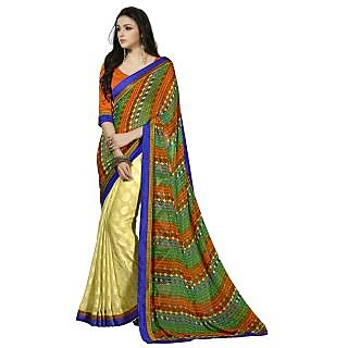 Firstloot Remarkable Yellow Colored Printed Georgette Jacquard Saree