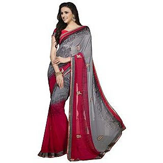 Firstloot Startling Grey Colored Printed Faux Georgette Saree