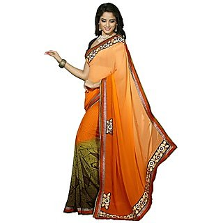 Firstloot Staggering Orange Colored Printed Faux Georgette Saree