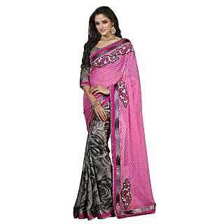 Firstloot Fine Looking Grey Colored Printed Georgette Jacquard Saree