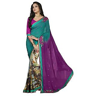 Firstloot Magnetic Multi Colored Printed Faux Georgette Saree