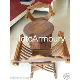 Home Decorative HAND CARVED CHAIR & TABLE SET MEDIEVAL DINING SET FOLDING WOOD CHAIR & TABLE SET