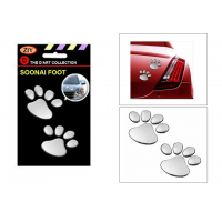 Autosun - Soonai 3 D Foot Mark Lucky Charm Car  Bike Sticker - Silver