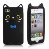 Cute Mcoco 3d Cat Silicone Back Case For Iphone 4/4s (black)