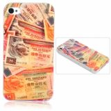 Innovative Lustrous Surface Red Paper Money Pattern Hard Plastic Back Case With Transparent Frame For Iphone 4/4s