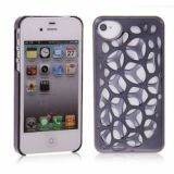 Trendy Bird Nest Design Woven Electroplate Protective Hard Case For Iphone 4 4s (black)