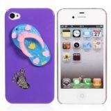 Funny Slipper Design Protective Plastic Hard Back Case Cover For Iphone 4 4s (purple)