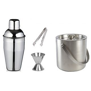 4 piece Bar set (Medium) - Cocktail shaker Ice Tong Ice bucket and Peg measure