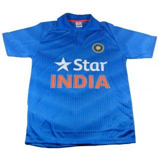 Blue Polyester Printed India ODI Cricket Jersey