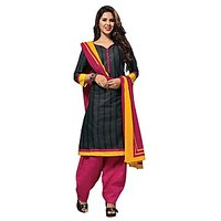 Dfolks Womens Cotton  Printed black salwar  Suit(Unstitched)Df0061
