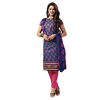 Dfolks Womens Cotton  Printed blue salwar  Suit(Unstitched)Df0060