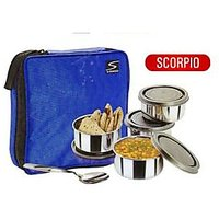 Scorpio Lunch Box With 4 Ss Air Tight Containers And Pouch