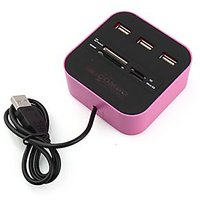 3 Port High Speed USB Hub With Memory Card Reader- Pink