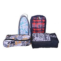 Shoe Bags-Shoe Bags-Multicolor-Polyester-Shoe Bags - Pack Of 4  -By Bagsrus