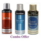 Combo Of Park Avenue Alpha Deo Spray - 150 Ml (For Men) + Park Avenue Cool Blue Deo Spray - 150 Ml(For Men) + Park Avenue Good Morning Deo Spray - 150 Ml(For Men)