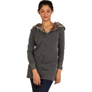 Womens Leopard Coat Zipper Hoodie Sweatshirt