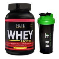 INLIFE Whey Protein Powder 2 Lbs  (Strawberry Flavour) With Free Shaker