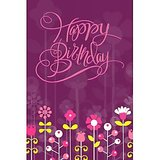 GreetZAP Voice Card: Birthday Wishes - Purple Flowers [Large Card]