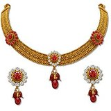 Sv Jewels & Pearls Gold Plated Necklace Set (Design7)